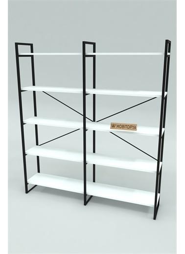 Mobitopya Nilamu Beyaz 150 cm Kitaplık / Metal Aksamlı / Organizer / Ofis / Ev / 5 Raflı Kitaplık Beyaz